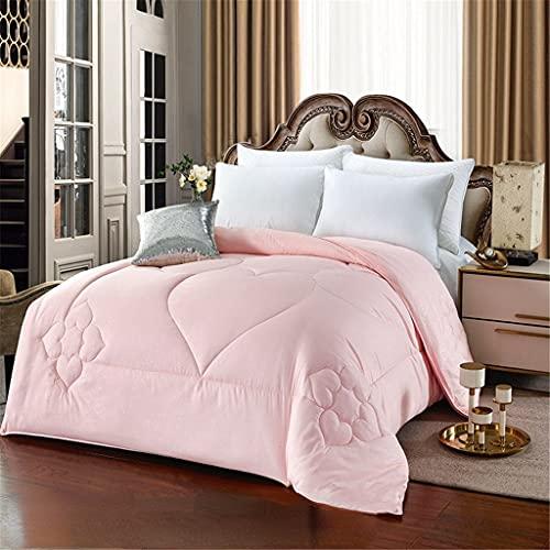 Aiglen Edredón de seda de morera súper cálido Four Seasons 1,5-5 kg, edredones de cama King Queen gruesos de tamaño doble, edredón familiar (Color : Pink, Size : 220x240cm 2kg)