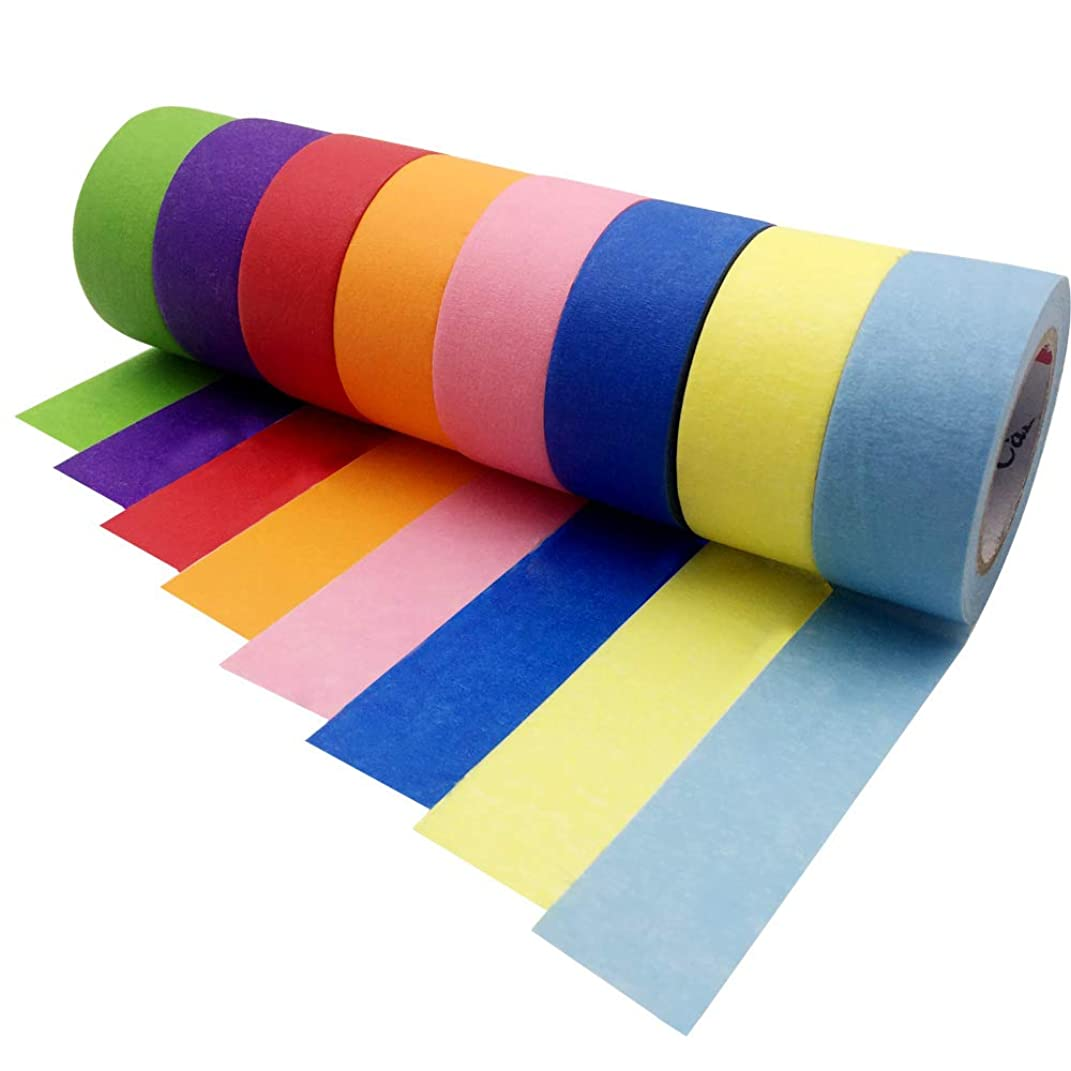 Colored Masking Tape 8pcs Crafts Labeling Tape Decorative Writable Colored Duct Tape Kids Craft Set Labelling Tape for Arts Crafts DIY, Rainbow Colors