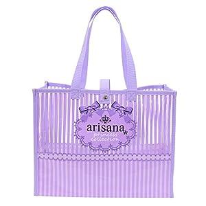 (アリサナ) arisana プールバッグ 女の子 ビニール ビーチバッグ 大容量 ストライプ リボン パープル