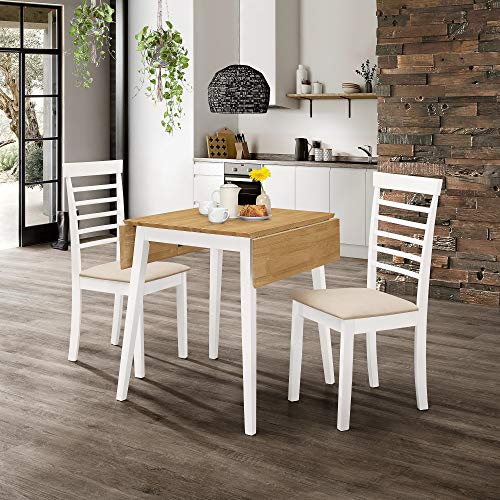 Hallowood Ledbury Small Wooden Drop Leaf Dining Table and 2 Chairs Set in White & Oak, Rubberwood, White Painted Body with Light Oak Finish Top, LEB-TAB970-SET(2)-W