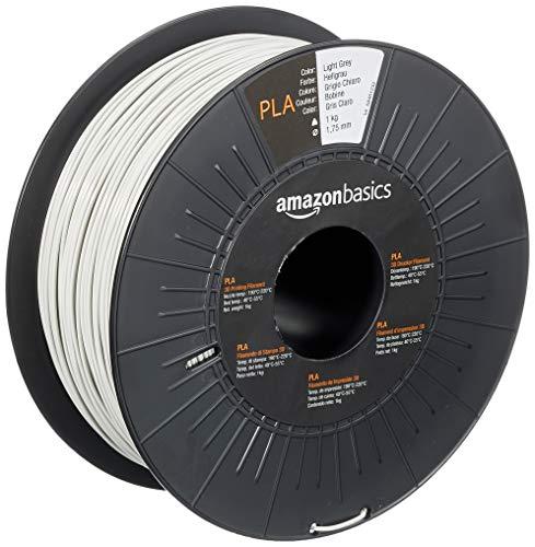 Amazon Basics 3D-Drucker-Filament aus PLA-Kunststoff, 1,75 mm, Hellgrau, 1-kg-Spule