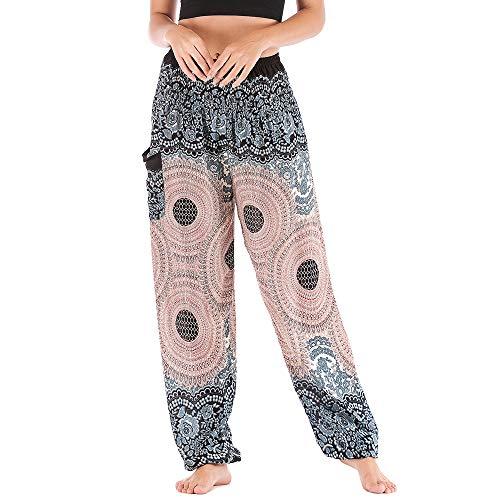 Nuofengkudu Donna Cotone Harem Pantaloni con Tasconi Hippy Ethnic Stampata Vita Alta Comode Baggy Indiano Yoga Pants Boho Pantalone Estivi Spiaggia(Bianco Rotondo,Taglia Unica)