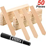 Bamboo Plant Labels Garden Wood Arrows Tags with Pen for Garden Plant Signing (50)