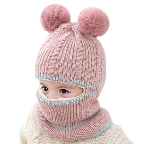 iTemer 1 Pieza Lindo otoño e Invierno de Punto Lana para niños Sombrero Babero un frío Invierno cálido Traje Bufanda Sombrero Adecuado para niños de 2-5 años de Edad Rose