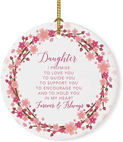 Lplpol 3 Inch Daughter I Promise to Love You Cherry Blossom Wreath Christmas Ornament Tree Holiday Ornament