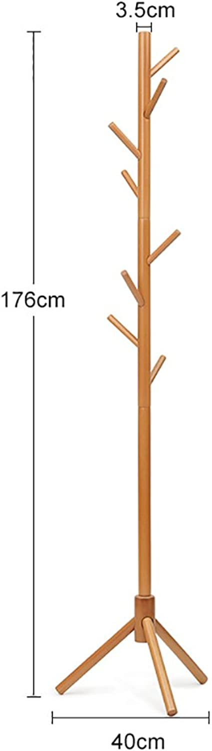 LFF- Floor-Standing Solid Wood Coat Rack Easy to Install Simple Modern Wooden Indoor Clothes Rack Natural Wood Walnuts White Bedroom Hanger (color   Natural Wood, Size   S)