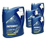 4 x 5 L 10W 40 Olio Motore Defender 20 L Parzialmente Sintetico Benzina e Diesel