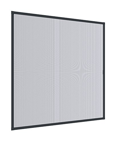 Windhager Spannrahmen Insektenschutz Spannrahmenfenster Plus, Fliegengitter, Alurahmen für Fenster, individuell kürzbar, 100 x 120 cm anthrazit, 04327