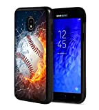 Galaxy J7 2018/J7 V 2018/J7 Refine/J7 Star Case,BWOOLL Slim Anti-Scratch Rubber Protective Cover for Samsung Galaxy J7 (2018) - Burning Baseball Fire and Water