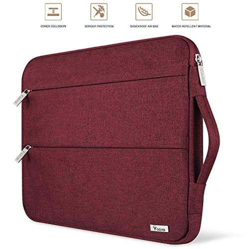"Voova 13 13.3 Inch Laptop Sleeve Case Compatible with MacBook Air 13.3"", MacBook Pro (Retina) 13"", Surface Book 2 / Laptop 13.5"" Notebook Computer Waterproof Protective Bag Cover with Handle, Red"