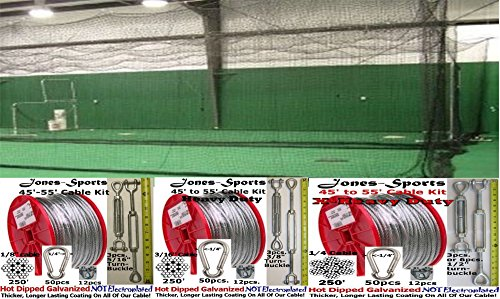 Jones Sports 10' X 12' X 40' #42(60PLY) Batting CAGE with Your Choice of Cable KIT, for Baseball, Softball, Backyard Sports (Heavy Duty)