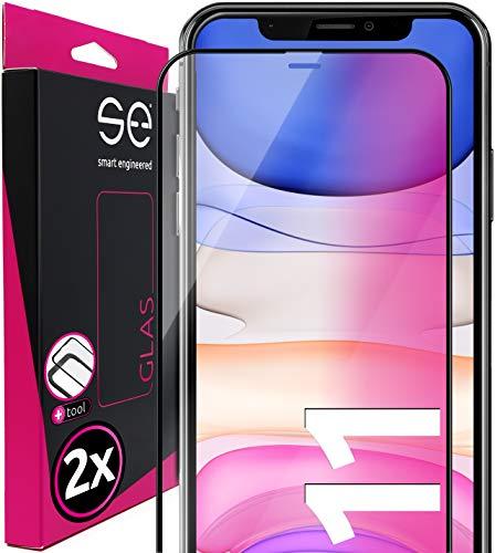 2 x 3D Full Screen Schutzglas 3D für Apple iPhone 11 - komplette Abdeckung vorne - Installationshilfe - Panzerglas Folie Schutzfolie Schwarz Transparent Clear