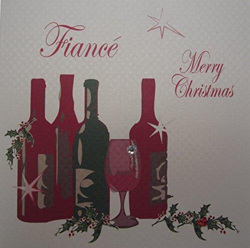 Fiance blanco Cotton Cards-Tarjeta hecha a mano inclusión Merry Christmas-de-vino