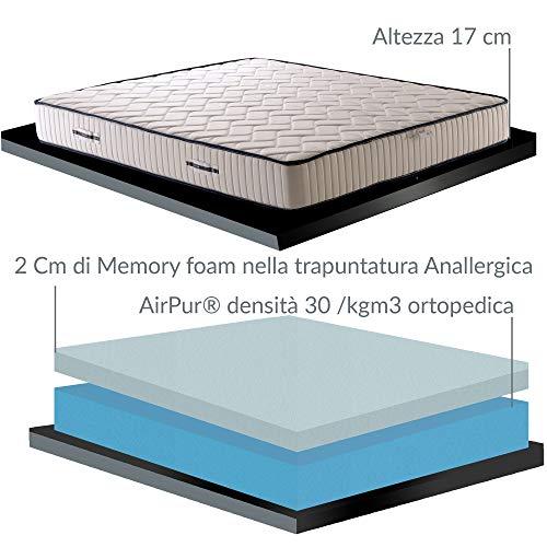 Colchón anatómico Eva de 17 cm de altura, con acogedora espuma viscoelástica y poliuretano + 2 almohadas de flor de Memory, colchón desenfundable de plaza y media, 125 x 190 cm