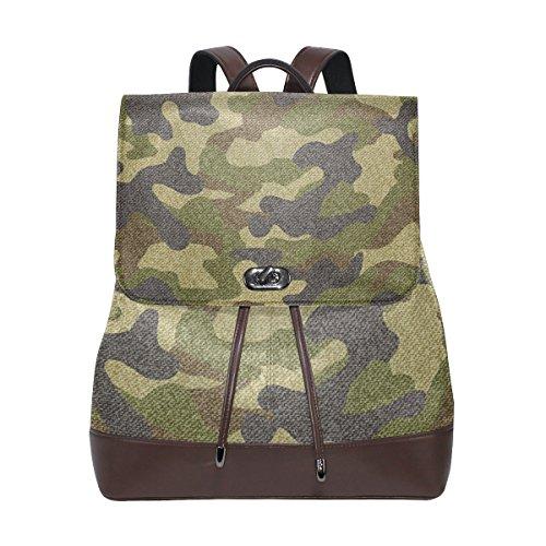MONTOJ Camouflage Cuir Sac de Voyage Campus Sac à Dos Unisexe School Pack Sac à Dos pour Filles Taille Unique 7