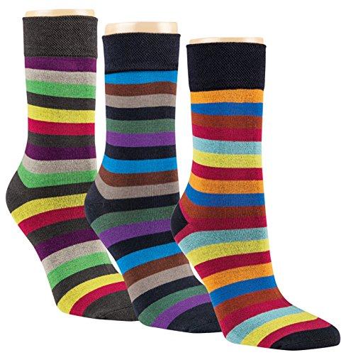 gigando | Striped Colorful Bamboo Socks for Ladys | Bambus Socken mit bunten Streifen | Atmungsaktive Strümpfe für Damen | hochwertige Verarbeitung | Geschenkbox | 3 Paar | bunte Ringel |