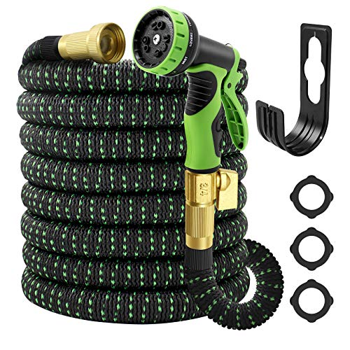 """Garden Hose Expandable 50ft, Water Hose With 10 Function Spray Nozzle,Lefree Heavy Duty Flexible Hose,3/4"""" Solid Brass Connectors,Lightweight No-Kink Flexible Water Hose"""
