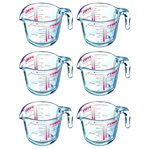 Pyrex Classic Glass Measuring Jug High Heat Resistance 0.25 Litre Transparent (Pack of 6)