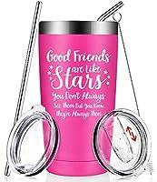 Good Friends Are Like Stars - 面白い親友の誕生日ギフト - 女性、男性、姉妹、同僚、ルームメート、親友、女性、彼女へのクリスマスプレゼントアイデア - 断熱ワインタンブラーカップ