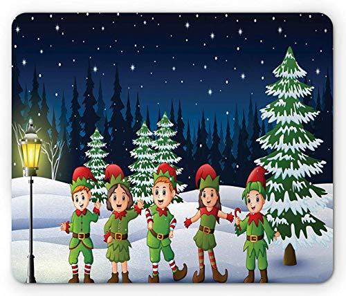 Elfen-Mauspad, Kinder, die lustige Kostüme im Schnee mit Wald auf dem Hintergrund tragen, rechteckiges rutschfestes Gummi-Mauspad, Standardgröße, dunkelviolettes Blau mehrfarbig