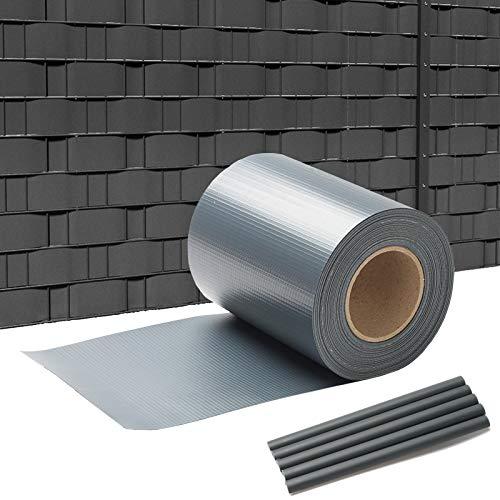 SWANEW PVC Sichtschutzstreifen für Doppelstabmatten, Anthrazit, 65 m x 19 cm mit 40 Clips, PVC Sichtschutzfolie für Zaun, Gartenzaun, Doppelstabmattenzaun, Sichtschutz, Beidseitiger Druck