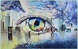 Papel tapiz fotográfico Ojo de puente de mar amarillo gris azul 200x150 cm -4 pieces Lana Decoración De Pared Sala Cuarto Papel pintado tejido no tejido Decoración de Pared decorativos