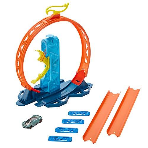 HotWheels Track Builder Unlimited Coffret Lanceur et Looping avec connecteurs et une voiture incluse, jouet pour enfant, GLC90