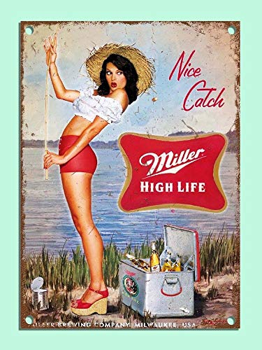 """Metal Signs Retro Style Miller Beer Girl Fishing Bar Den Tin Wall Plaques Gifts Novelty Aluminum Tin Signs 8""""X12"""""""