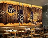 IWJAI 3D Photo TV Wallpaper Wall Painting Decoración Etiqueta de la pared Altavoz de cuerda de madera nostálgico retro marrón Papel tapiz fotográfico Murales estéreo 3D modernos Sala de estar Fondo de