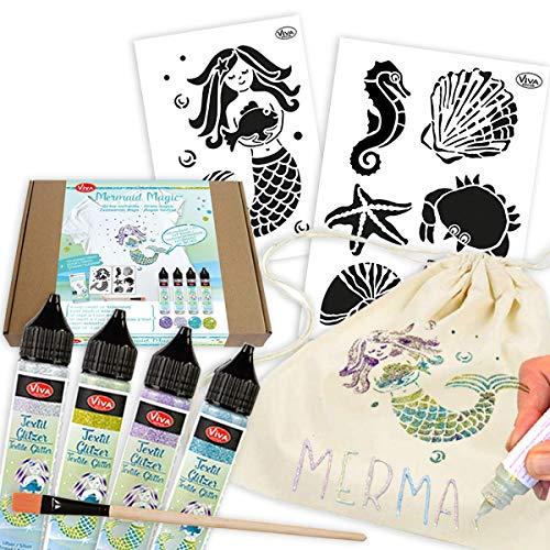 geburtstagsfee Juego de manualidades textil para 3 bolsas de algodón con diseño de sirenas brillantes, 11 piezas con 4 colores textiles brillantes, 2 plantillas, 1 pincel, 1 folleto