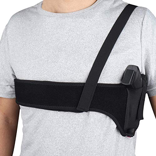 AK KYC Gun Holster Deep Concement Shoulder Holster Pistol Holster Neoprene Belly Band for Men & Women, Fits S&W Bodyguard, M&P Shield 9mm, Glock 19 26 42 43, Ruger LCP, LC9, Sig P365,Right Hand Draw
