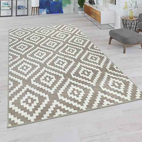 Paco Home Wohnzimmer Teppich, Rauten Muster in Pastell Farben, Moderner Boho Ethno Look, Grösse:160x220 cm, Farbe:Beige