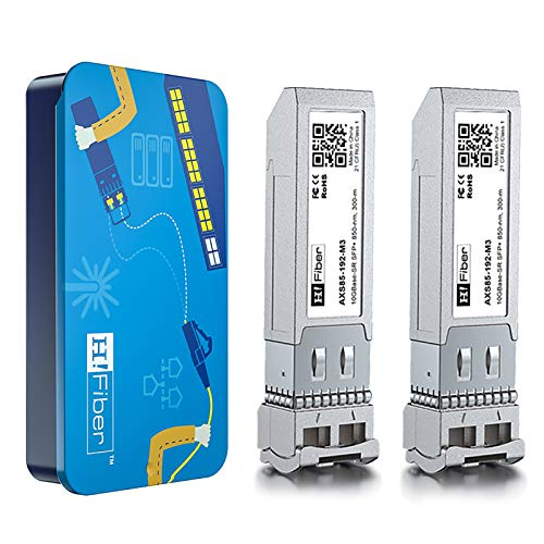 H!Fiber.com 10Gb SFP+ Multimode Transceiver(300m, 850nm), 10Gbase SFP+ SR LC Modul für Cisco SFP-10G-SR, Ubiquiti, Netgear, D-Link, TP-LINK, Zyxel, Qnap NAS, Mikrotik and Other Open Switch【2Pack】