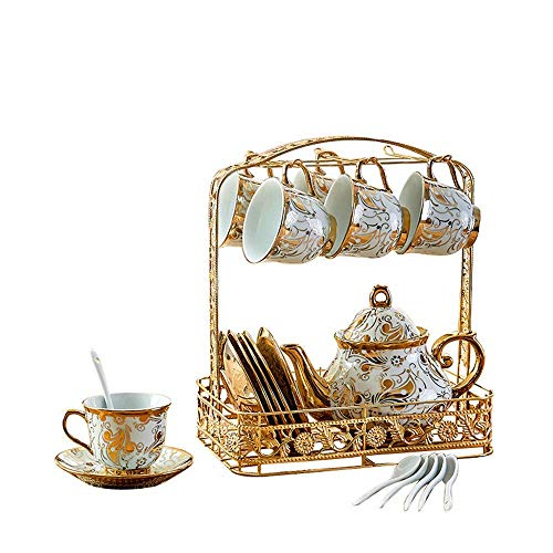 Luxury European-Style Gold-Plated Ceramic Coffee and Tea Set Porcelain Tea Service Tableware with Metal Rack Set of 22, Rattan Pattern