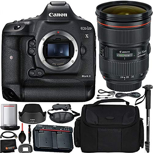 Canon EOS-1D X Mark II DSLR Camera Bundle EF 24-70mm f/2.8L II USM Lens and Manufacturer Accessories (12 Items)