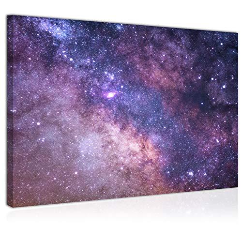 Topquadro Cuadro Imagen sobre Lienzo 70x50cm, Estrellas y Vía Láctea, Galaxia y Universo, Cielo Estrellado, Azul - Decoración de Pared - Una Pieza