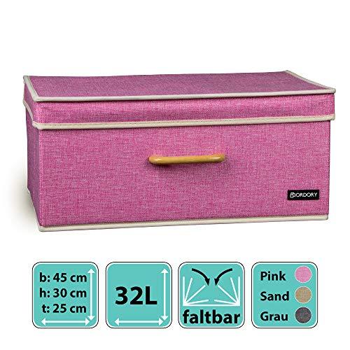 Ordory® Premium Aufbewahrungsbox mit Deckel - modische Faltbare Ordnungsbox im zeitlosen Design - der perfekte Organizer für die ganze Familie (Pink)