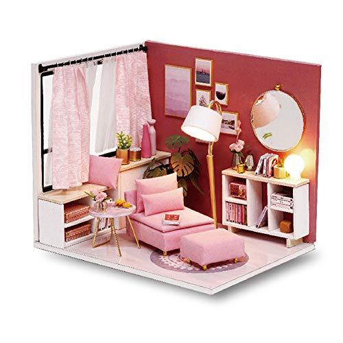 Cuteroom DIY Doll Room Miniature Furniture Holzhaus-Kit - Holzpuppenhaus mit Möbeln und Zubehör, für Idee geeignet für Familie und Kinder