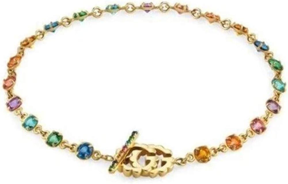 Gucci, bracciale running g, in oro giallo 18 kt, con pietre preziose YBA481664001017
