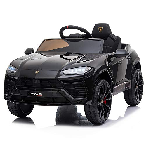 12V Kids Ride On SUV Vehicle Licensed Lamborghini Urus Electric Toy Car w/Remote Control, Music, Horn, USB, SD Card, Spring Suspension - Black