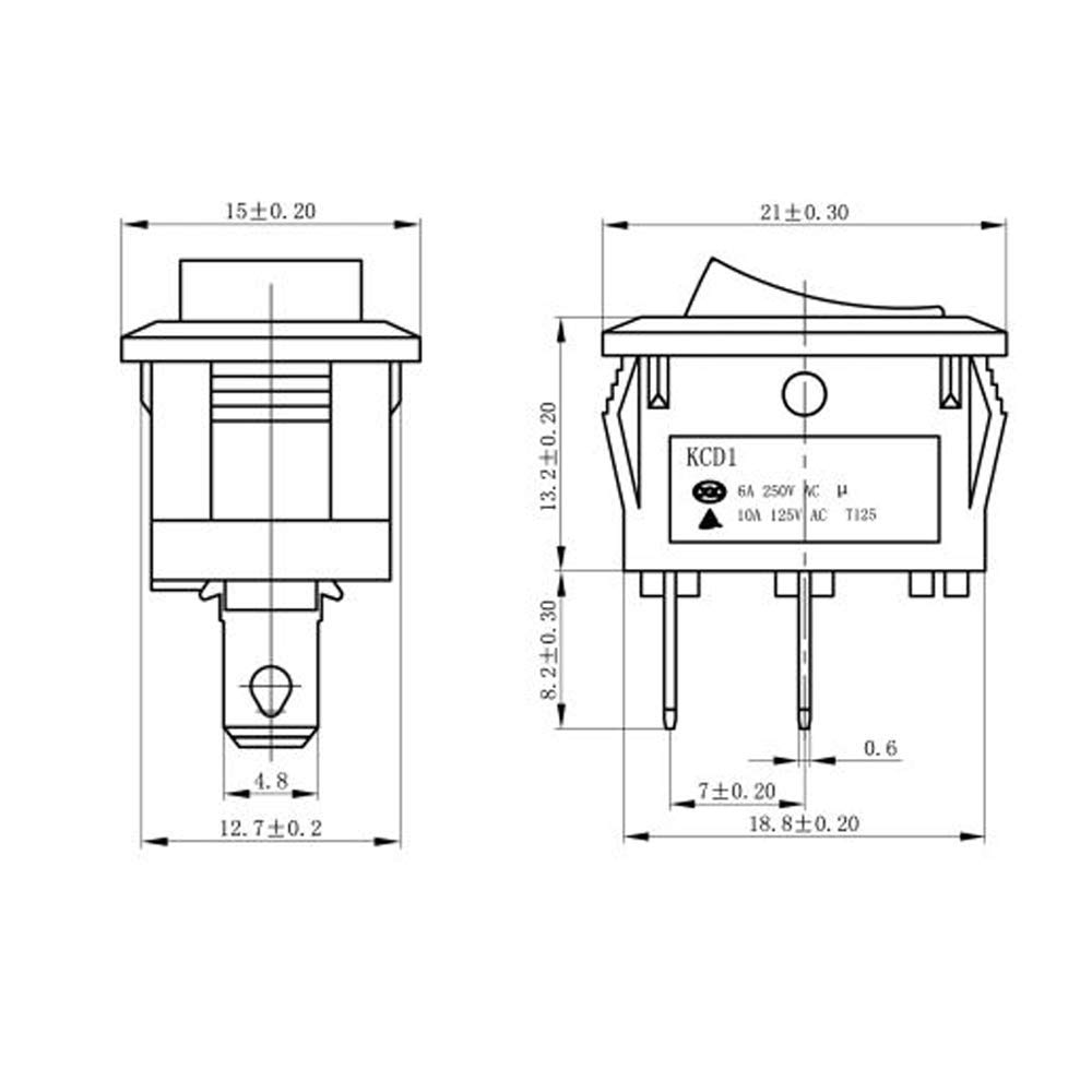 Mmtrade 10 Stück On Off Mini Kippschalter Wippschalter 21x15mm Schalter Einrastbare Mit Selbsthemmung Schwarz 10a 125v 6a 250v Baumarkt