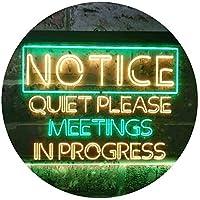 Meeting in Progress Quiet Please Room Dual Color LED看板 ネオンプレート サイン 標識 緑色 + 黄色 300 x 210mm st6s32-i3511-gy