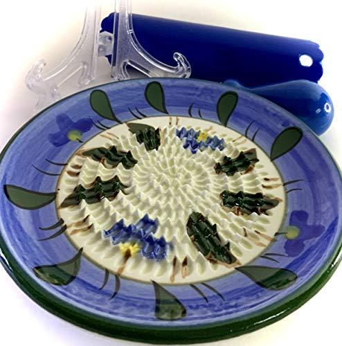 BonCera, All in One 4 Pieces set includes Premium Quality Stoneware Grater Light Blue Sky Flowers Field Design Porcelain item G-113