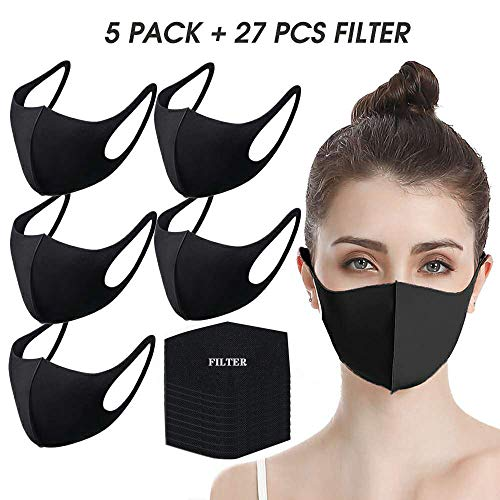 Face Masks by undwider, Fashion Protective Mouth Mask, Unisex Cotton Dust Mask, Reusable Washable Mask for Cycling Camping Travel, Black - 5 Pack