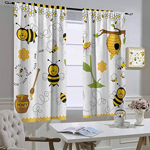 Mozenou Collage CurtainKitchenWindow Flying Bees Daisy Honey Chamomile Flowers Pollen Springtime Animal Print The Best Choice for Bedroom and Living Room 55x63 Inch Yellow White Black