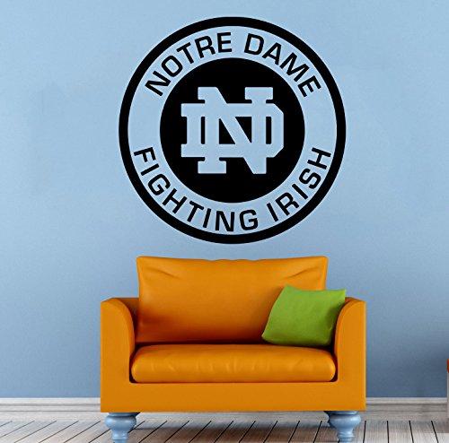 Notre Dame Logo Wall Vinyl Decal Sticker Fighting Irish NCAA College Football Sport Home Interior Removable Decor (22