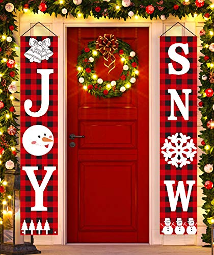 SLKing Store Christmas Decorations Outdoor | Joy&Snow Banner | Christmas Porch Sign for Front Door Indoor Home Decor | Christmas Welcome Couplet