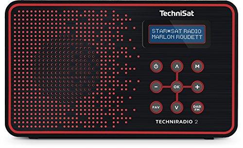 TechniSat TECHNIRADIO 2 Digital-Radio mit Favoritenspeicher, mobiles DAB+ und UKW-Radio, Kopfhöreranschluss, Netz- oder Batteriebetrieb, perfektes Taschenradio für unterwegs, schwarz/rot