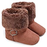 Infant Snow Boots for Girls Boys Soft Sole Anti-Slip Toddler Winter Warm Prewalker Newborn Outdoor Shoes 1016 Coffee 0-6 Months