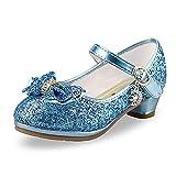 Zapatos Princesa Niñas Zapatos Tacon Punta Cerrada Mariposa con Lentejuelas Tacones de Carnaval Cosplay Fiesta Zapatitos de Vestir Azul 34 EU(CN 35)